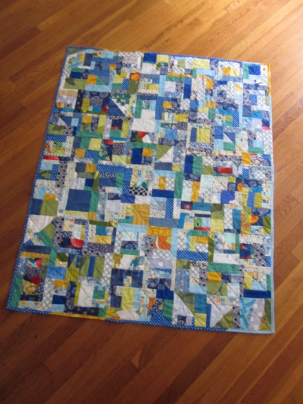 scrappy quilt in blue
